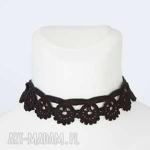 choker hrabiny - naszyjnik, choker, koronkowy, szydełkowy, elegancki, czarny
