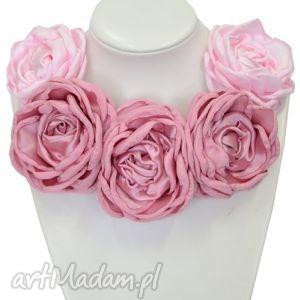 kwiatowa kolia - model 08 - różowa - kolia, naszyjnik, broszki