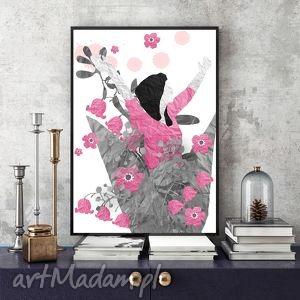 RADOŚĆ... ART PRINT A4, grafika, kobieta, kwiaty, ilustracja, wycinanki, kolaż