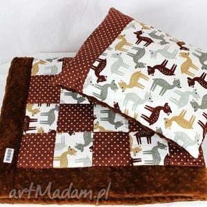 kocyk poduszka patchwork - sarenki - kocyk, poduszka, patchwork, niemowlak, kołderka