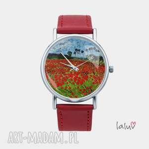 zegarek z grafiką pole maków, monet, obraz, reprodukcja, sztuka, prezent, kwiaty