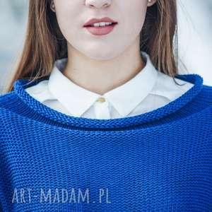 oryginalny prezent, hermina sweter szafirowy, damski, bawełniany