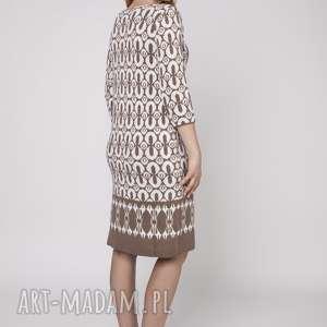 dzianinowa sukienka, suk005 mocca/ecru mkm, dzianina, jesień, dopracy