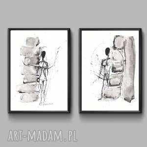 ręcznie wykonane grafika zestaw dwóch grafik, obrazy grafiki do ramki 21x30, nowoczesne grafiki czarno-białe