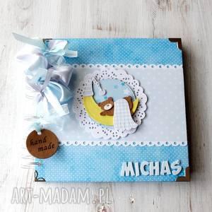 album z misiem - chłopiec, chrzest, dziecko prezent, roczek