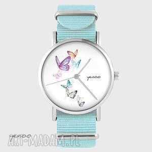 ręcznie zrobione zegarki zegarek, bransoletka - motyle niebieski, nato