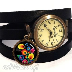 folk - zegarek bransoletka na skórzanym pasku, prezent, ludowa
