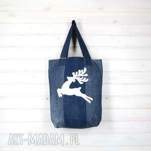 hand made pomysł na prezent torba dżinsowa renifer jelonek niebieska