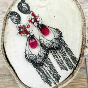 kolczyki carmen, srebro, wire wrapping, perły, 925, swarovski, kryształy
