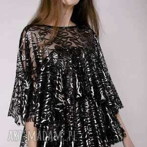 sukienki sukienka z falbanami, sukienka, falbany, mini, błyszcząca