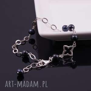 srebrna bransoletka z czarnych pereł, czarne perły, perły rzeczne, srebro