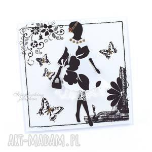 BYĆ KOBIETĄ - KARTKA, kobieta, sukienka, torebka, kwiaty, motyle