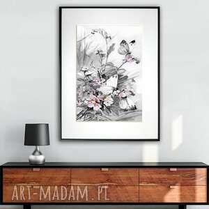 grafika w ramie motyle i polne kwiaty 30x40, kwiaty, motyle, prezent