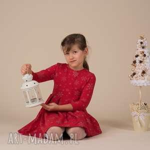 prezent świąteczny Dziecięca sukienka ŚNIEŻYNKA Czerwona!!, śnieżynki, święta, srebro