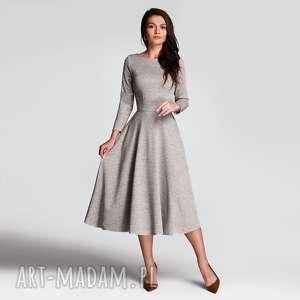 sukienka klara 3/4 total midi melanż szary, midi