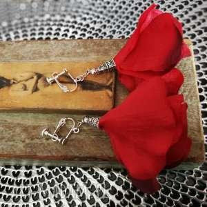 ręczne wykonanie klipsy długie kwiaty etno boho