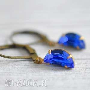 Kryształowe krople- oryginalne kolczyki , krople, kryształ, niebieski, lekkie, berlin