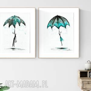 zestaw 2 grafik 30X40 cm wykonanych ręcznie, turkus, parasol, turkus