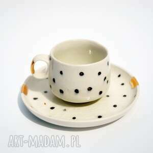 filiżanka ze spodkiem złota biedronka - porcelit, filiżanka, kawa, espresso