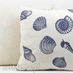 poduszka dekoracyjna muszle 45x45cm len, poduszki, poszewka, ozdobna, dekoracja
