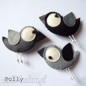 three little birds - przypinki - broszki, ptaszki, filc, przypinki, prezent