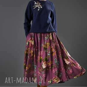 spódnica midi w kwiaty paloma, spódnica, midi, rozkloszowana, kwiaty, wiskoza