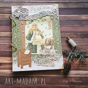 pamiętnik w stylu vintage na zimowe zapiski zima, gwiazdy koronki, latarnia, serce