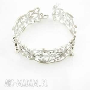 srebrna bransoletka - koronkowa robota biała, bransoletka, srebrna, biżuteria
