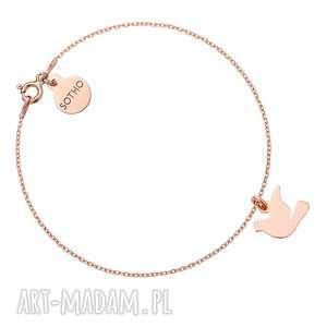 Bransoletka z różowego złota z gołębiem - ,bransoletka,gołąb,różowe,złoto,modowe,trendy,