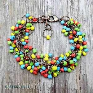 Koralowce - kolorowa bransoletka , koralowa, wakacje, wielokolorowa, boho, miedź