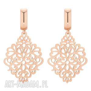 sotho kolczyki z różowego złota z - wiszące, eleganckie