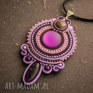 Wisior soutache w odcieniach fioletu, soutache, sutasz, fiolet, fioletowy, agat