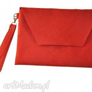 Kopertówka czerwona XL, kopertówka, alcantara, xl