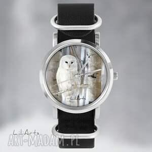 zegarek, bransoletka - biała sowa czarny, skórzany, nato