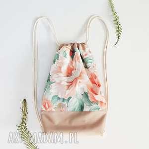 plecak worek kwiaty - ,plecak,worek,duży,pojemny,kwiaty,vintage,