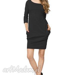 sportowa sukienka z kieszeniami t181, czarna, sukienka, sportowa, bawełniana