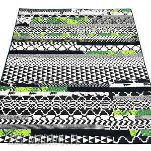 handmade koce i narzuty narzuta patchwork stripes - monstera 157x200cm od majunto