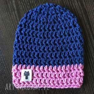 czapki ręcznie robiona czapka granat i jasny róż hand made, czapka