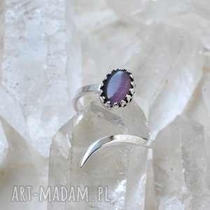 Minimalistyczny pierścień z kocim okiem, srebro, minerały, minimalistyczny, kocie-oko