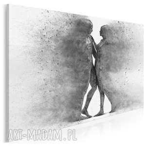 Obraz na płótnie - PARA SYLWETKI POSTACIE CZARNO-BIAŁY - 120x80 cm (38404),