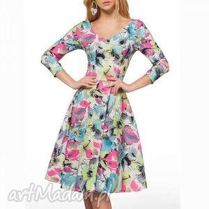 święta prezent, sukienki sukienka luna i midi julia , midi, rozkloszowana, kwiaty