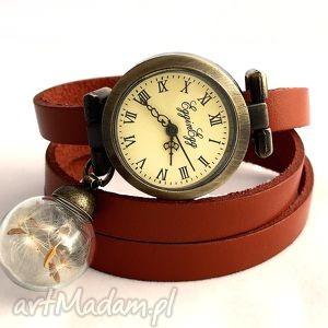 zegarki nasiona dmuchawca - zegarek/bransoletka na skórzanym pasku, zegarek