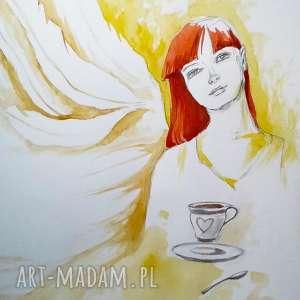ręcznie robione dekoracje anioł spokoju akwarele i ołówek na papierze a3 artystki