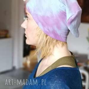 czapka recznie farbowana bawełna wiosna rekonwalescencja sport - bawełna, dzianina