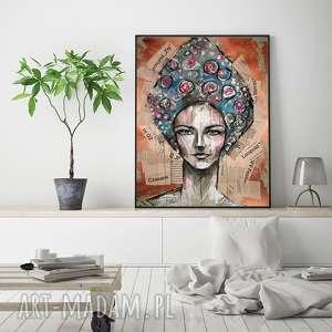 Elifia - rysunek kolaż, rysunek, portret, unikat, radzka, kobieta
