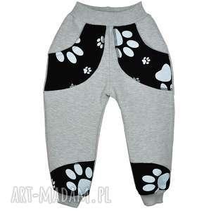 Szare bawełniane spodnie, spodenki, dresówka, Psie Łapy, rozm. 62-116