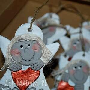 handmade prezent święta wesolutkie aniołki z modeliny