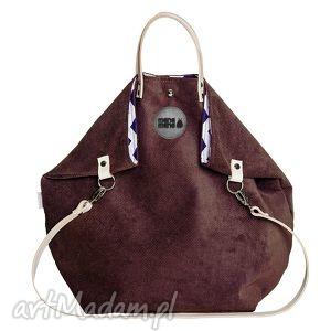 handmade na ramię torba worek ruby short brązowa