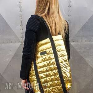 pikowana złota torba pojemna na ramię, pikowana