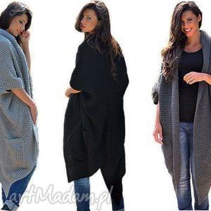 Długi Ciepły Sweter-Płaszcz, sweter, płaszcz, ciepły, długi, modny